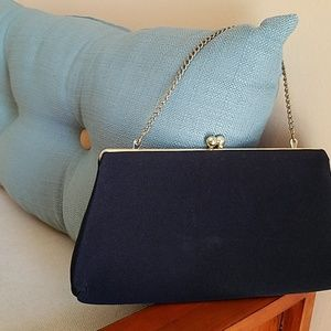 VINTAGE *Glam* Cloth Clutch Navy